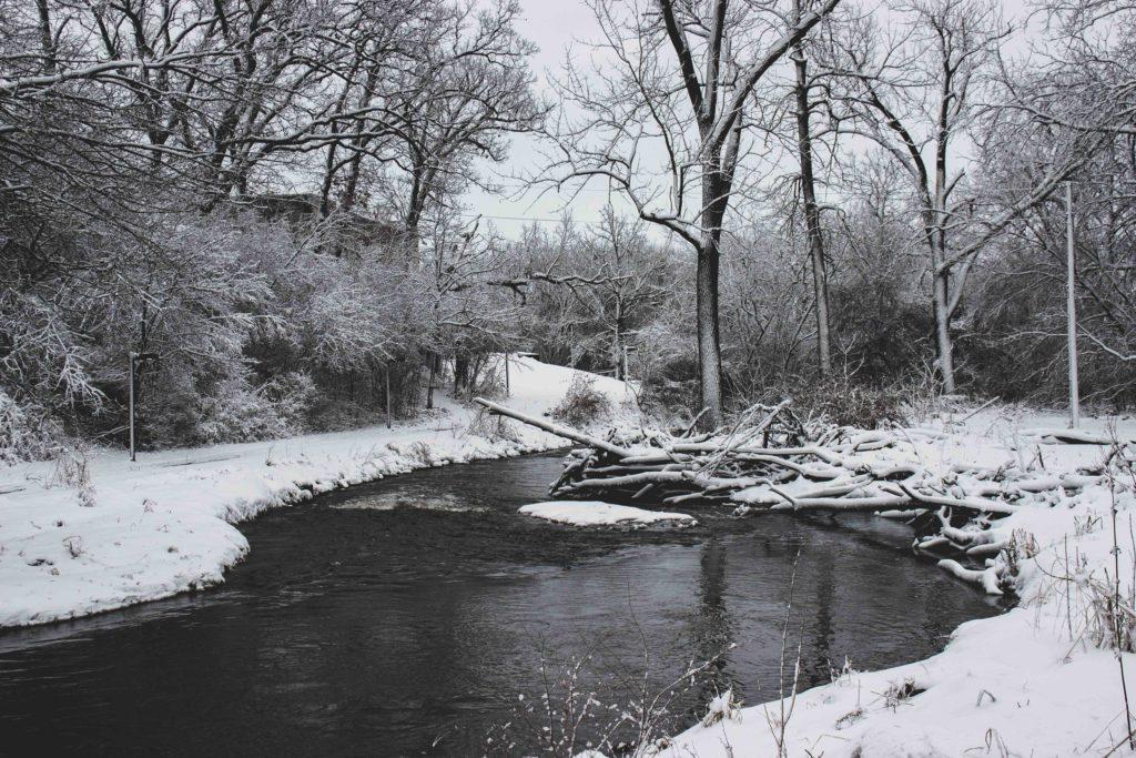 Snowy scene of Tyler Creek by Joey Atansio