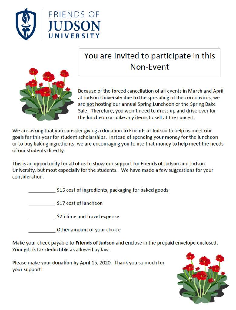 Form Announcing FOJ No Event Fundraiser
